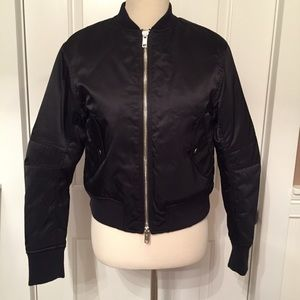 3.1 PHILLIP LIM JACKET BLACK BOMBER CRISSCROSS S